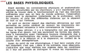 Bases physiologiques de la vision par le Docteur R.Bataille, extraits d'un article pour l'AFITEC (Association Française des Ingénieurs et techniciens du Cinéma°) 1945