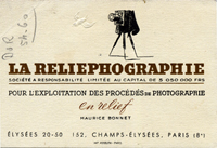 La société Reliephographie 152 avenue des Champs Elysées Paris de 1936 à 1950
